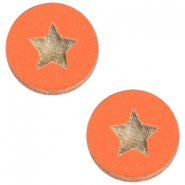 Basic wooden cabochon 20mm star Orange