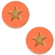 Basic wooden cabochon 12mm star Orange