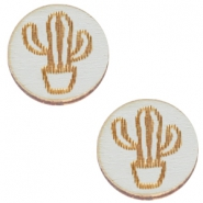 Basic wooden cabochon 12mm cactus Grey