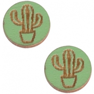 Basic wooden cabochon 12mm cactus Pine green