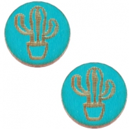 Basic wooden cabochon 12mm cactus Dark ocean blue