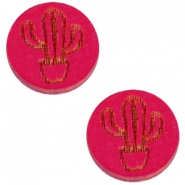 Basic wooden cabochon 12mm cactus Dark fuchsia