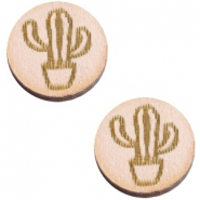 Basic wooden cabochon 12mm cactus Nude cream pink