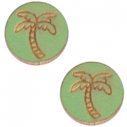 Basic wooden cabochon 12mm palm tree Pine green