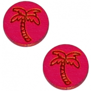 Basic wooden cabochon 12mm palm tree Dark fuchsia