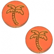 Basic wooden cabochon 12mm palm tree Orange