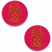 Basic wooden cabochon 12mm pineapple Dark fuchsia