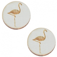 Basic wooden cabochon 20mm flamingo Grey