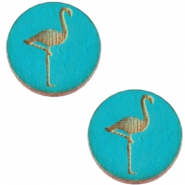 Basic wooden cabochon 20mm flamingo Dark ocean blue