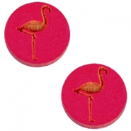 Basic wooden cabochon 20mm flamingo Dark fuchsia