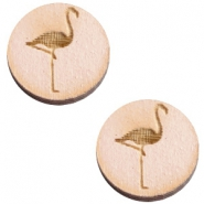 Basic wooden cabochon 20mm flamingo Nude cream pink