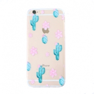 Trendy phone cases for Iphone 7 cactus & flowers Transparent-blue pink