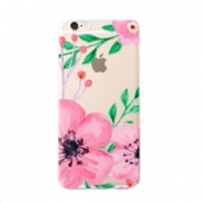Trendy phone cases for Iphone 6 Plus flower Transparent-pink green
