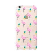 Trendy phone cases for Iphone 6 Plus flamingo & pineapple Transparent-yellow pink