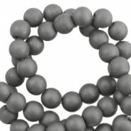 Round hematite beads 6mm matt Anthracite grey