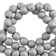 Round hematite beads 6mm matt Light grey