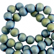 Round hematite beads 4mm matt Indicolite blue