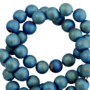 Round hematite beads 4mm matt Dynamic blue