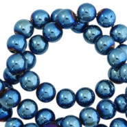 Round hematite beads 6mm  Dynamic blue