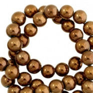 Round hematite beads 6mm  Rose gold