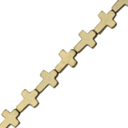 Hematite beads cross Antique gold