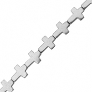 Hematite beads cross Light grey