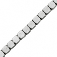 Hematite beads cube 3mm matt Light grey