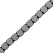 Hematite beads cube 4mm matt Anthracite grey