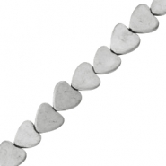 Hematite beads heart 8mm matt Light grey