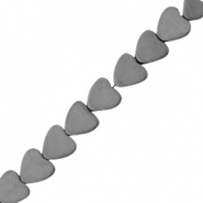 Hematite beads heart 6mm matt Anthracite grey