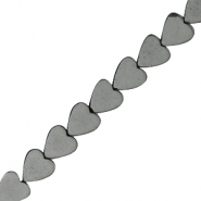Hematite beads heart 4mm Anthracite grey