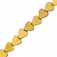 Hematite beads heart 8mm Gold