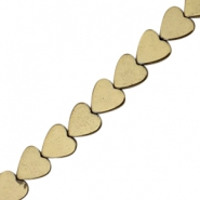 Hematite beads heart 8mm Antique gold