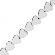 Hematite beads heart 6mm Light grey