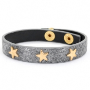 Trendy bracelets reptile with studs gold star Anthracite grey