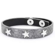 Trendy bracelets reptile with studs silver star Anthracite grey