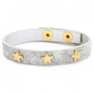 Trendy bracelets reptile with studs gold star Light grey