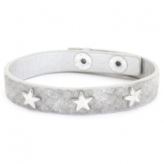 Trendy bracelets reptile with studs silver star Light grey