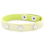 Trendy bracelets reptile with studs silver star Pastel yellow green