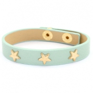 Trendy bracelets with studs silver star Green-grey mist