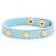Trendy bracelets reptile with studs goldr star Light blue