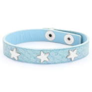 Trendy bracelets reptile with studs silver star Light blue