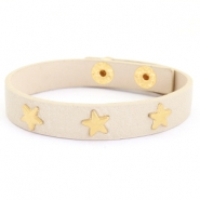 Trendy bracelets with studs gold star Taupe beige