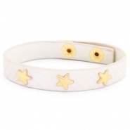 Trendy bracelets reptile with studs gold star Creamy white