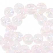 8mm glass beads  Light pink transparant-half diamond coating