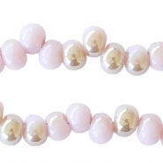 6mm glass beads  Light lilac-half diamond coating