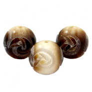 DQ acrylic carved Polaris beads 16mm Brown-beige