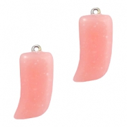DQ acrylic pendant shark tooth Pink