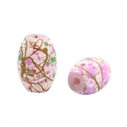 Glass beads tube drip-art Multicolour pink-brown-green