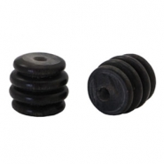 Ribbed DQ acrylic beads Grey black